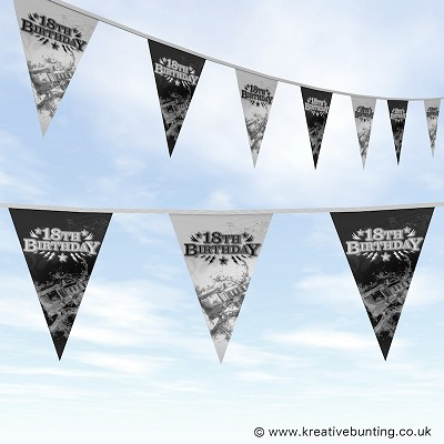 18th Birthday Party Bunting - Rock Music Design
