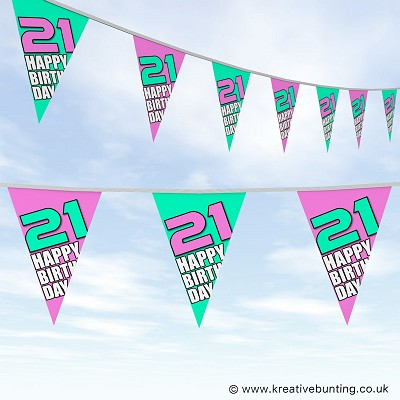21st Birthday - Bold Pink and Mint
