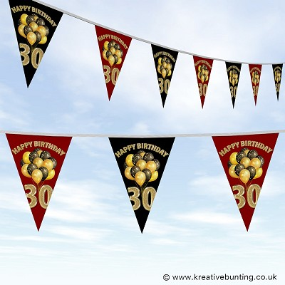 30th Birthday Bunting - Balloons Design
