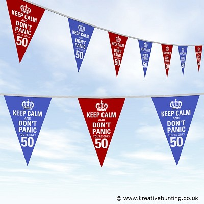 50th Birthday Bunting - Keep Calm Design