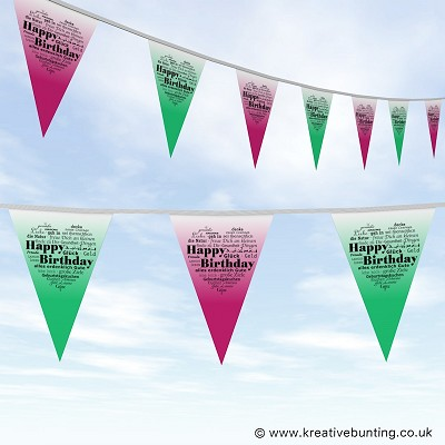 Birthday Bunting - Heart Words Design