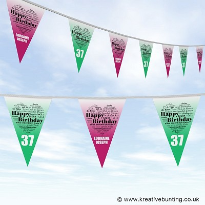 Personalised Birthday Bunting - Heart Words Design