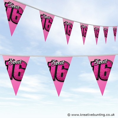 Sweet 16 Birthday Bunting - Pink Glitter Design