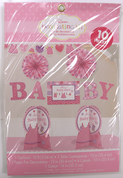 Baby Shower Party 10 Piece Room Decorating Kit for Baby Girls