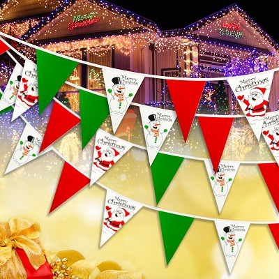 Christmas Bunting - Happy Snowman and Santa design