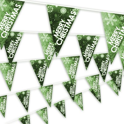 Christmas Bunting - Snowflake design in green