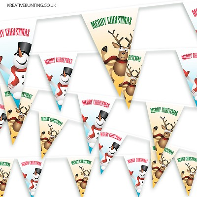 Christmas Bunting - Mad Reindeer and Happy Snowman
