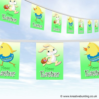 Easter bunny and chick cartoon bunting