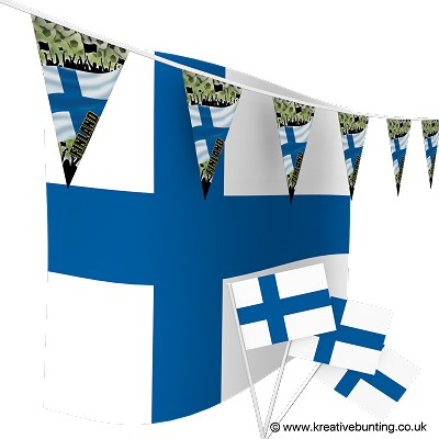 Finland Football Bunting & Flags Bundle
