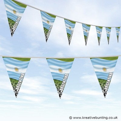 Argentina Football Bunting - Wavy Flag Design