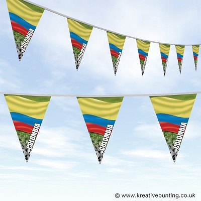 Colombia Football Bunting - Wavy Flag Design