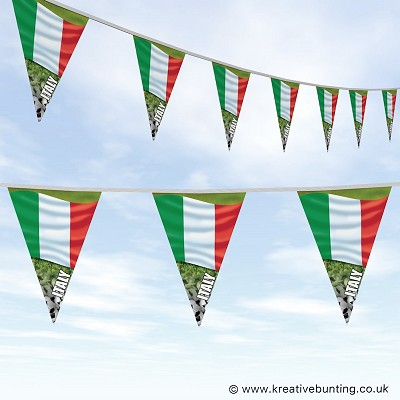 Italy Football Bunting - Wavy Flag Design