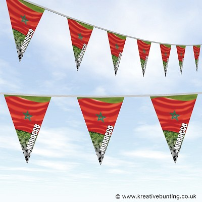 Morocco Football Bunting - Wavy Flag Design