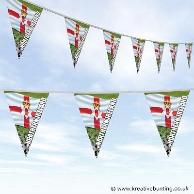 Northern Ireland Football Bunting - Wavy Flag Design