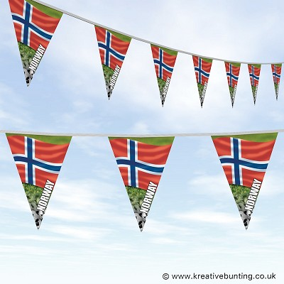 Norway Football Bunting - Wavy Flag Design