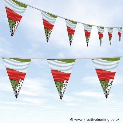 Poland Football Bunting - Wavy Flag Design