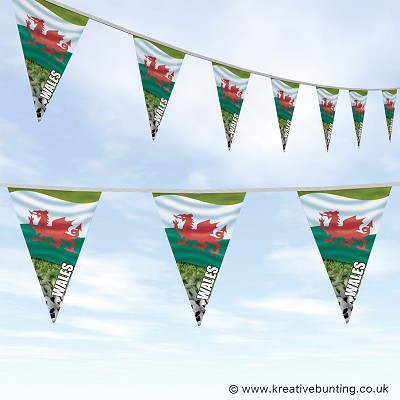Wales Football Bunting - Wavy Flag Design