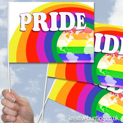 Pride Rainbow World Design 12 - Handwaving Flags