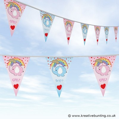 Gender Reveal Party Bunting - Elephants Design