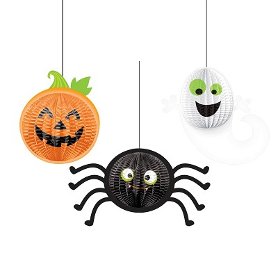 Gruesome Group 3D Hanging Decorations - Spider, Pumpkin, Ghost