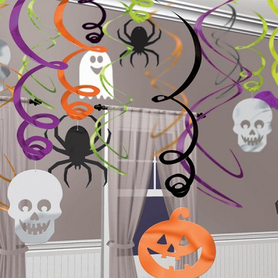 Halloween Swirl Hanging Decorations Pack of 30