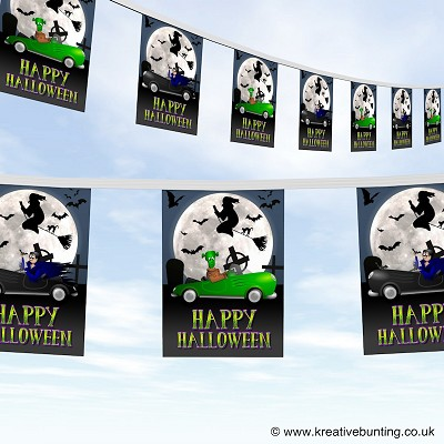 Happy Halloween creepy cars bunting