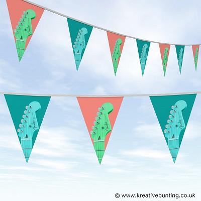 Music Guitar Bunting Teal & Salmon Design