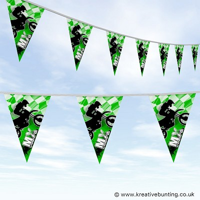 Dirtbike Off Road Motorcycle Bunting - MX Bold Green