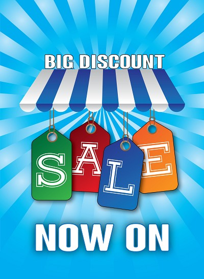 "A3 ""Big Discount Sale Now On - Blue"" Posters - Packs from £19"