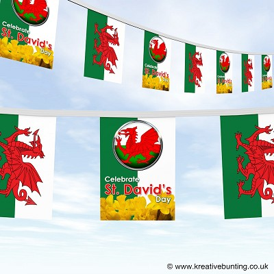 St Davids day Wales bunting - design 2