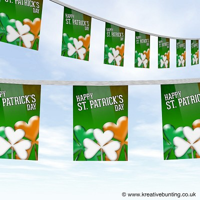 St Patrick's Day bunting colourful clover design