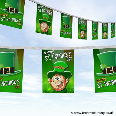 St Patrick's day - Merry leprechaun and hat bunting