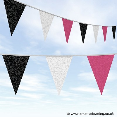 Wedding Day Bunting Fleurette Black White and Pink