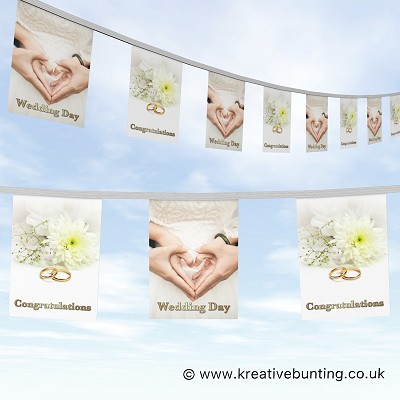 Wedding Day Bunting Hearts Hands and Rings Design