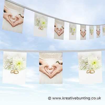 Wedding Day Bunting - Heart Hands and Rings Plain