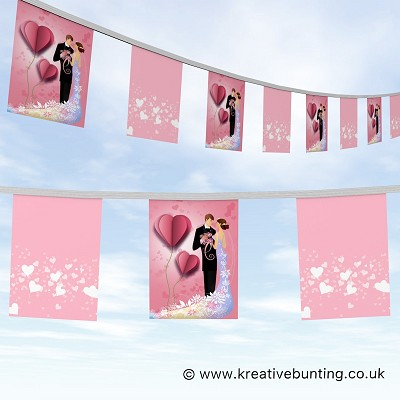 Wedding Day Bunting - Illustrated Heart and Couple Design