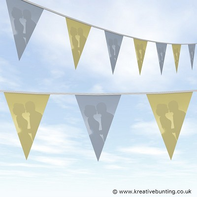 Wedding Day Bunting Cream and Blue Plain