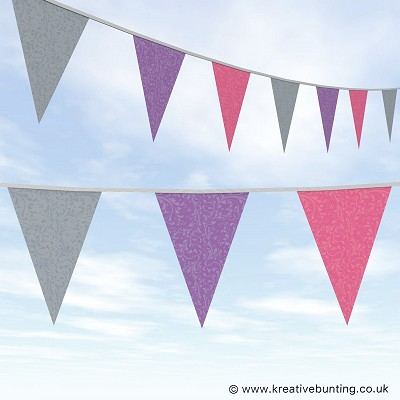 Wedding Day Bunting Fleurette - Grey, Purple and Pink
