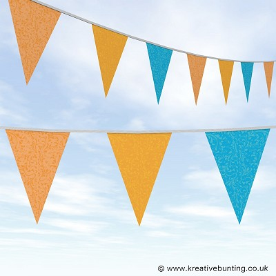 Wedding Day Bunting Fleurette - Orange, Yellow and Aqua