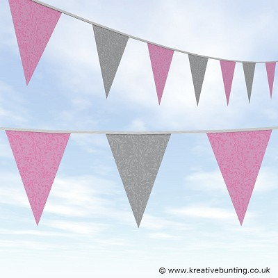 Wedding Day Bunting Fleurette - Pink and Grey